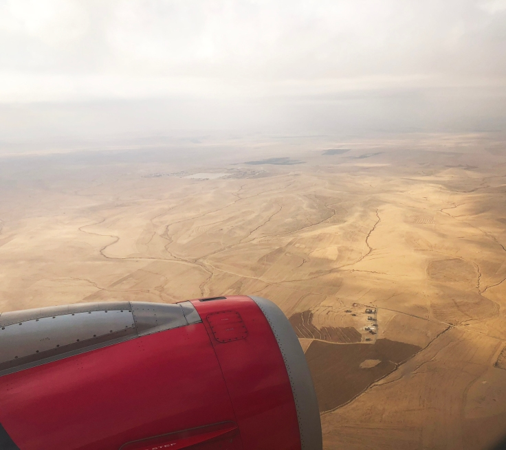 View flying into Amman